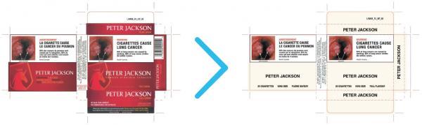 L'adoption de l'emballage enlèverait toute personnalité aux paquets de cigarettes, incluant leurs couleurs et logos.