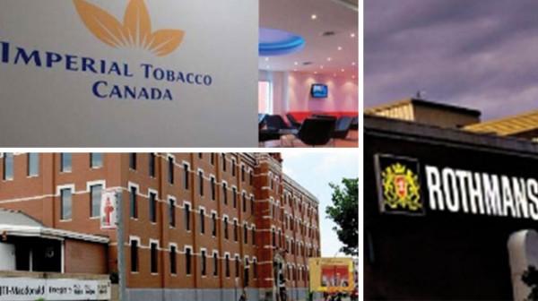 Les trois principaux cigarettiers présents au Canada sont : Imperial Tobacco Canada Limited, Rothmans, Benson & Hedges et JTI-Macdonald.