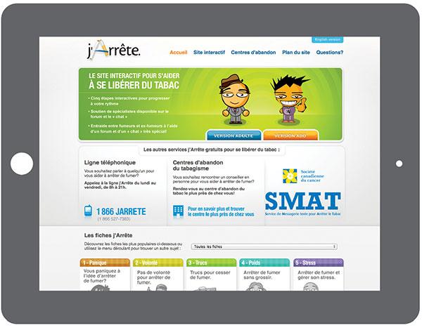 Le site Web jarrete.qc.ca est très bien référencé : il apparaît parmi les trois premiers résultats quand on tape « arrêter de fumer » ou « cesser de fumer » dans un moteur de recherche.