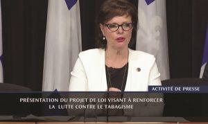La ministre déléguée à la Réadaptation, à la Protection de la jeunesse et à la Santé publique, madame Lucie Charlebois, a présenté en mai un projet de loi qui renforcera la Loi sur le tabac.