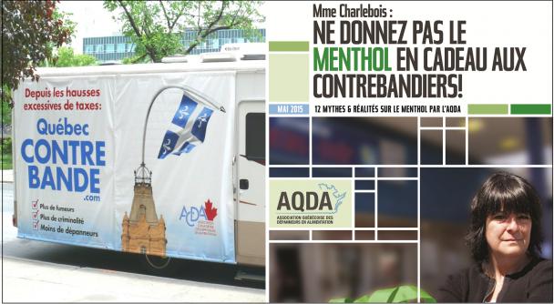 L'AQDA utilise l'argument de la contrebande pour s'opposer à la hausse des taxes ou à l'interdiction du menthol.