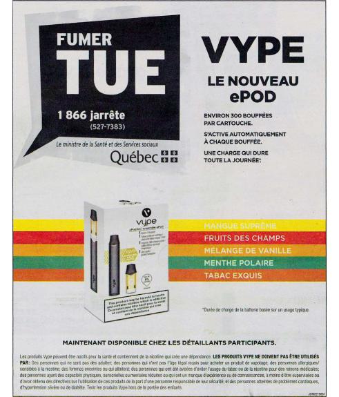 Les publicités pour la cigarette électronique Vype, publiées dans le Journal de Montréal