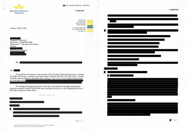 Corporate Europe Observatory a reçu des documents quasiment entièrement censurés quand il a demandé la correspondance échangée entre des cigarettiers et des élus européens.