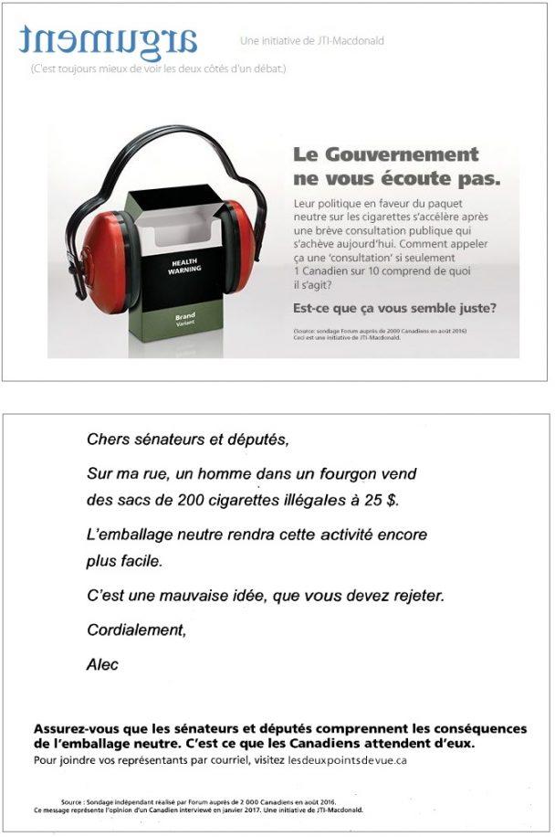 JTI-MacDonald mène une importante campagne sur le Web et dans les journaux pour dénigrer l'emballage neutre.