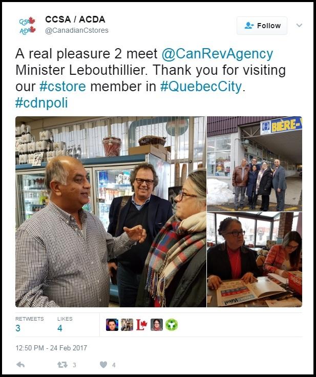 Les élus se laissent parfois séduire par le discours des groupes de façade. Ici, la ministre canadienne du Revenu national rencontre le propriétaire d'un dépanneur en compagnie du président de l'AQDA.