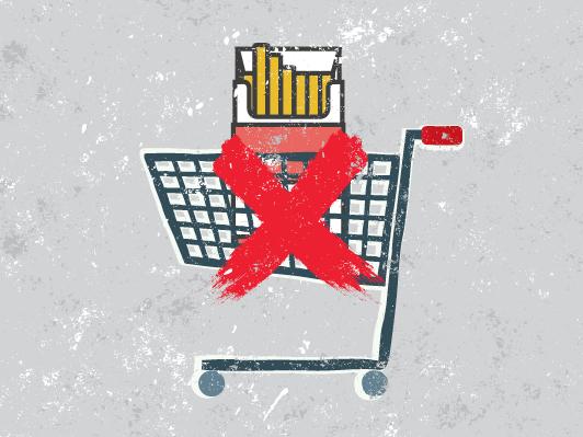 Panier d'épicerie cigarette interdiction